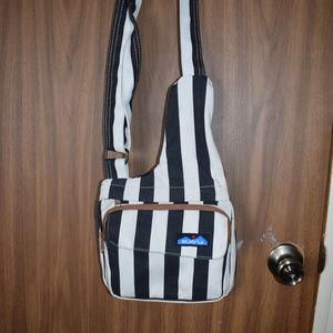 Kavu Black and White Striped Seattle Sling Bag